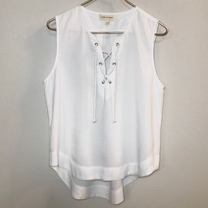 Anthropologie Cloth & Stone White Tank with Tie